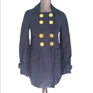 Miss Sixty Trench Coat Jacket Navy Double Breasted